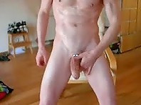 Super Horny Dude With a Metal Cock-Ring Jerks Off