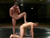 Rusty Stevens gets his mouth and ass fucked after a scuffle