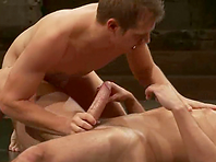 Nude gays Alexander Garrett and Mike Rivers enjoy banging on tatami