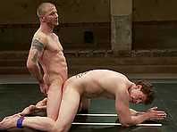 Naked gays fight on a ring and have ardent banging afterwards