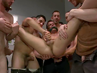 Nasty gay gets punished by his budies in a public bathroom