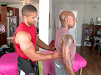 Black poofter gets his butt slammed by sexy masseur Robert Axel