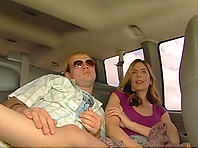 Two slutty homos fuck in a bangbus in reality video